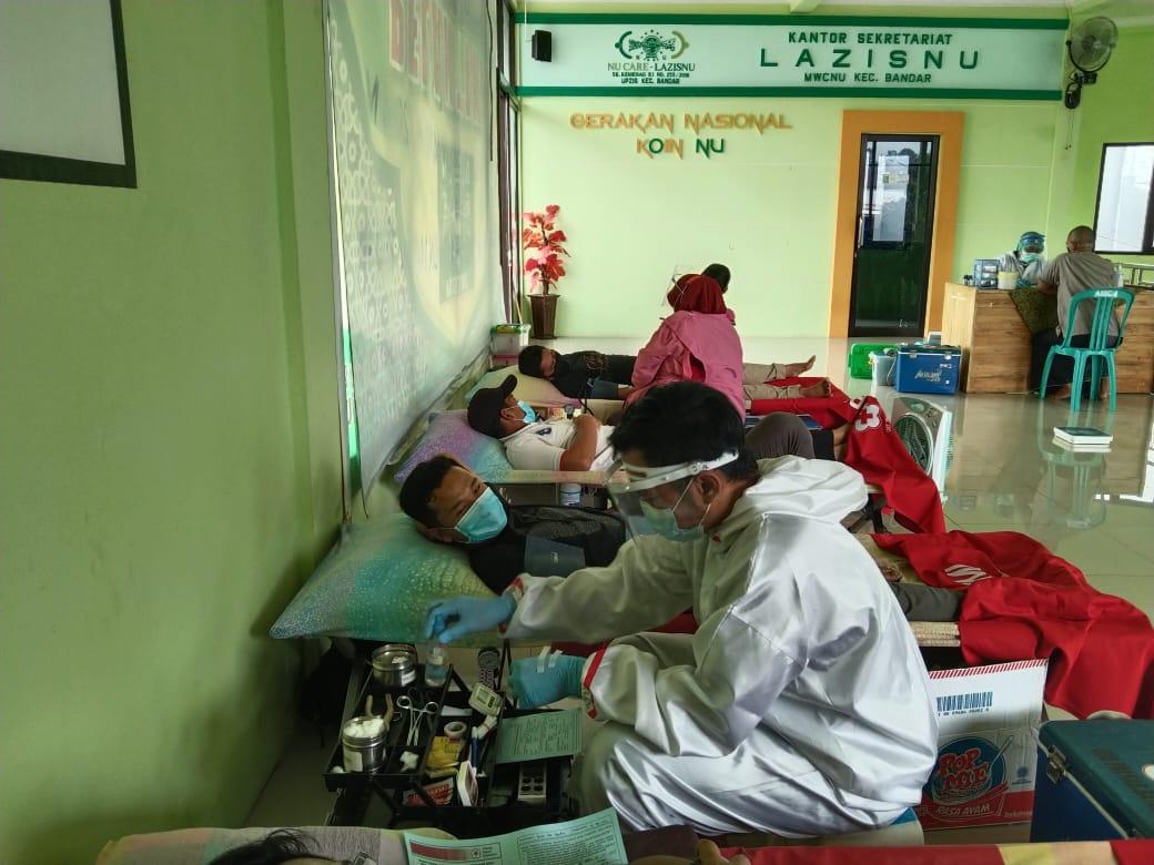 Peringati Harlah Ke 98, MWC NU Kecamatan Bandar Gelar Donor Darah.